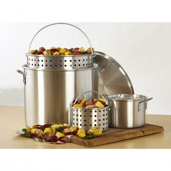 IMUSA 2 Piece Steamer Set with Basket 80 Quart/10 Quart