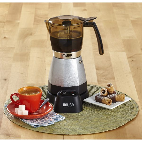 IMUSA Electric Moka Maker 3 cup & 6 cup 480 Watts, Silver