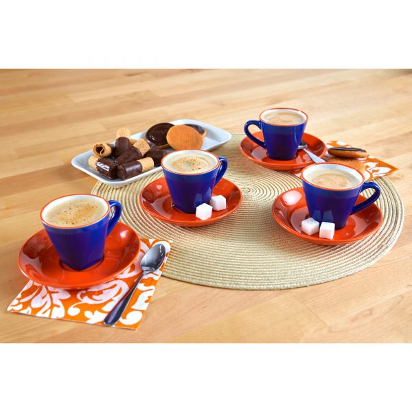 IMUSA 8 Piece Espresso Set, Green/Orange