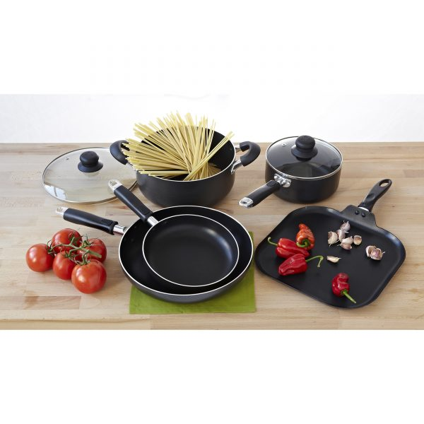 IMUSA 7 Piece Nonstick Cookware Set, Black