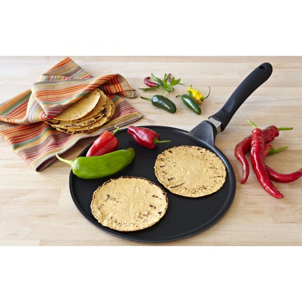 IMUSA Nonstick Comal with Soft Touch Handle 12 Inch, Black