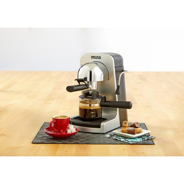 IMUSA Electric Bistro Espresso/Cappuccino Maker 4 Cup 800 Watts, Grey