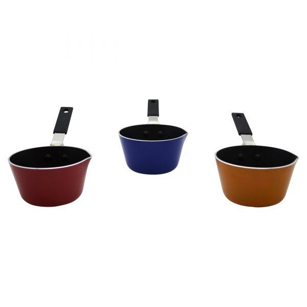 IMUSA Nonstick Color Mini Sauce Pan w/ Spout, Red/Orange/Blue