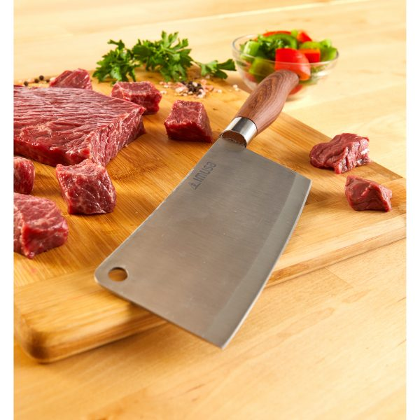 IMUSA Stainless Steel Cleaver with Woodlook Handle 5.5 inch