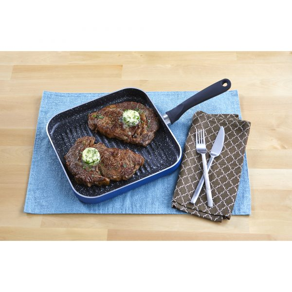 IMUSA Nonstick Speckled Blue Stone Finish Square Deep Grill Pan with Soft Touch Handle 10.5 Inch, Blue