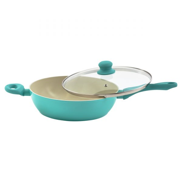 IMUSA Ceramic Nonstick Forged Aluminum Jumbo Cooker with Glass Lid & Soft Touch Handle 4 Quarts, Teal