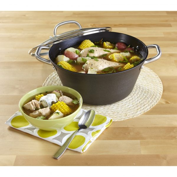 IMUSA Light Cast Iron Dutch Oven 6.2 Quart, Black