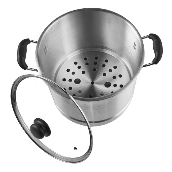 IMUSA Aluminum Steamer with Glass Lid 16 Quart, Silver
