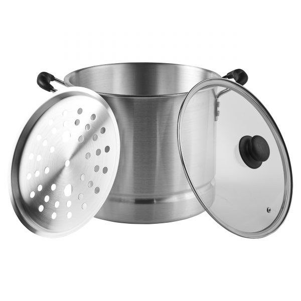 IMUSA Steamer with Glass Lid and Cool Touch Handle 20 Quart