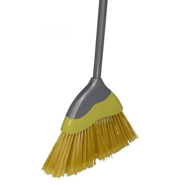 IMUSA Urban Angle Broom with Metal Handle, Yellow/Grey