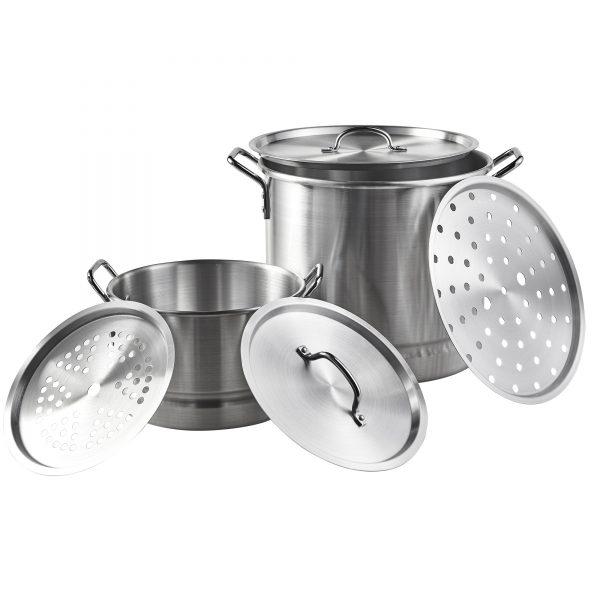 IMUSA 2 Piece Aluminum Steamer Set 32 Quart/10 Quart, Silver