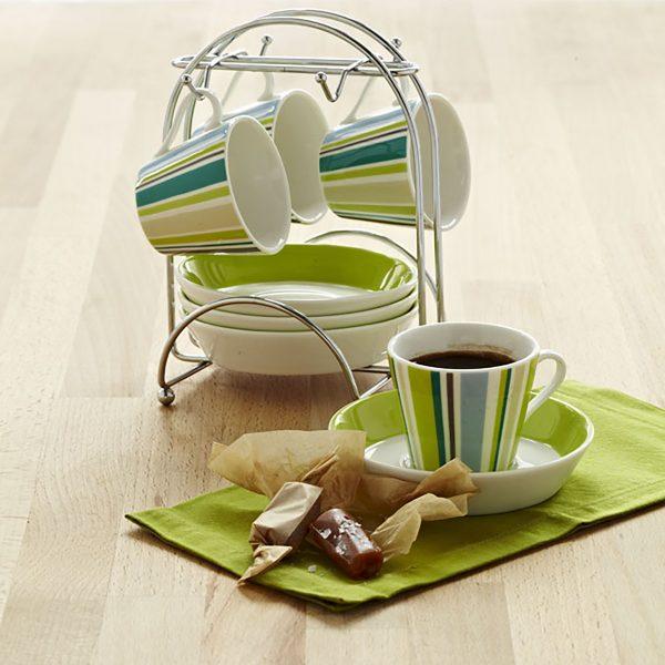 IMUSA 8 Piece Espresso Set with Rack Green Stripe