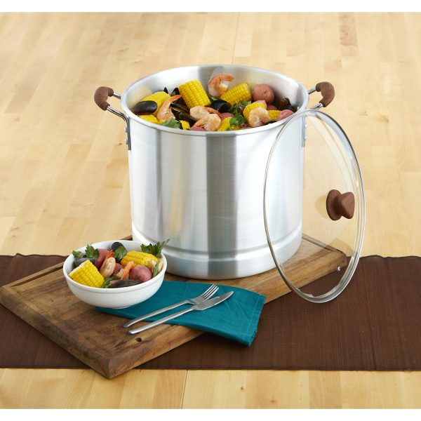 IMUSA Steamer with Glass Lid and Woodlook Handle 32 Quart