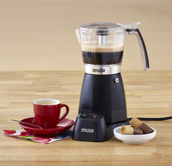 IMUSA Electric Moka Maker 3 cup & 6 cup 480 Watts, Black