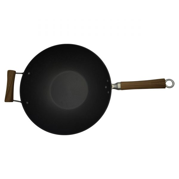 IMUSA Pre-seasoned Light Cast Iron Wok with Soft Touch Woodlook Handle 14 Inches, Black