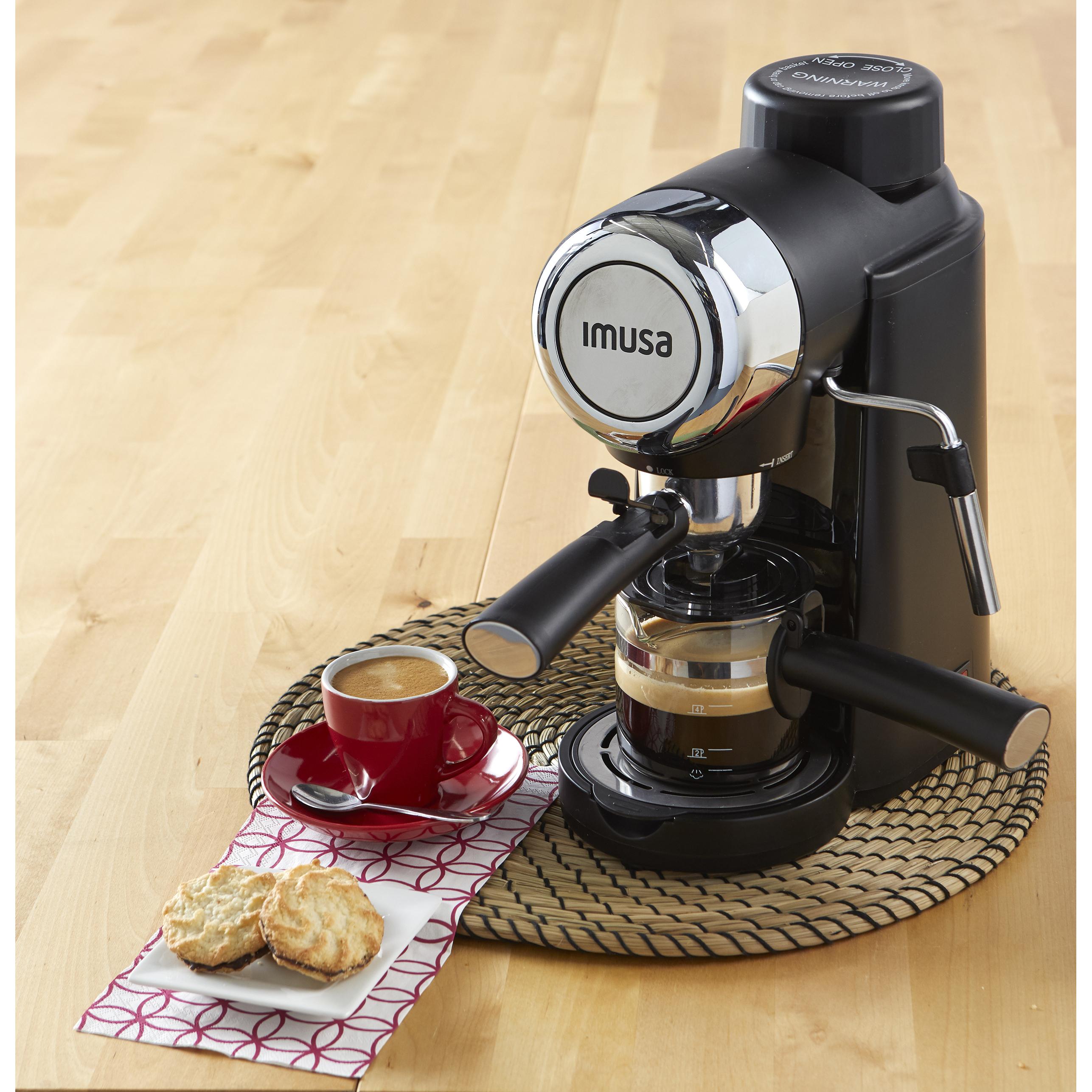 IMUSA IMUSA Electric Espresso/Cappuccino Maker 4 Cup 800 Watts, Black - IMUSA