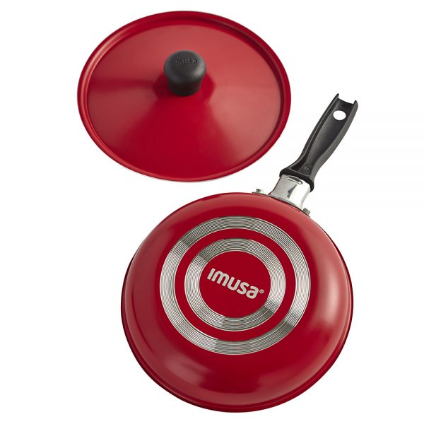 IMUSA Egg Pan with Lid 16 cm, Red/Orange/Black