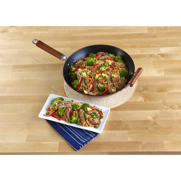 Global Kitchen Preseasoned Light Cast Iron Wok with Dark Wood Handles 14 Inches, Red/Black