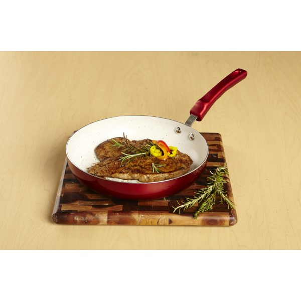 IMUSA Ceramic Nonstick Speckled Saute Pan with Soft Touch Handle 10 Inch, Ruby Red