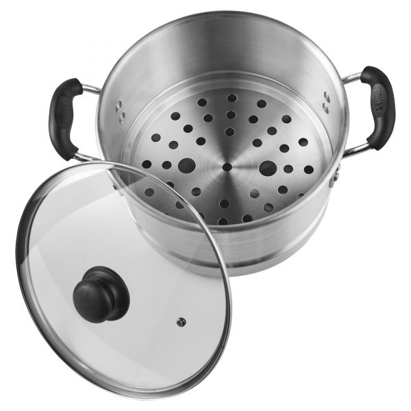 IMUSA Aluminum Steamer with Glass Lid 10 Quart, Silver