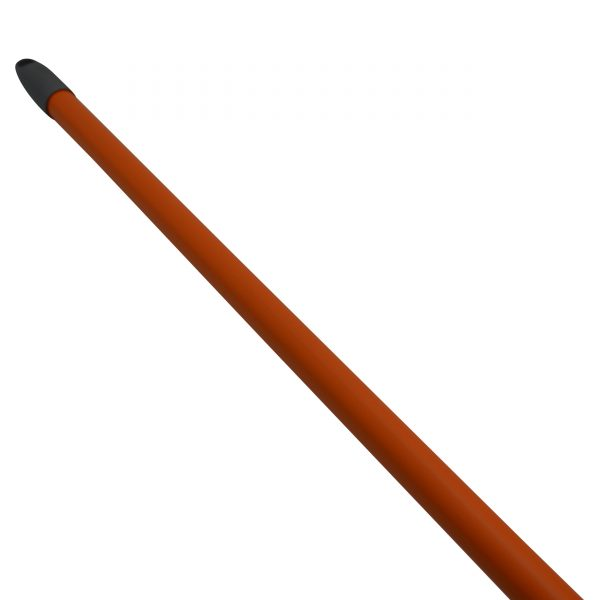 IMUSA Angle Outdoor Broom with Rubber Bumpers and Metal Handle, Orange/Grey