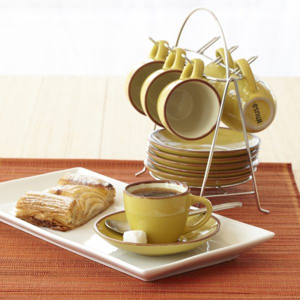 IMUSA 12 Piece Espresso Set with Rack Yellow