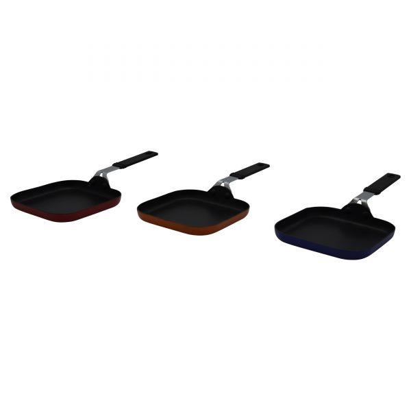 IMUSA Nonstick Color Mini Square Pan, Red/Orange/Blue