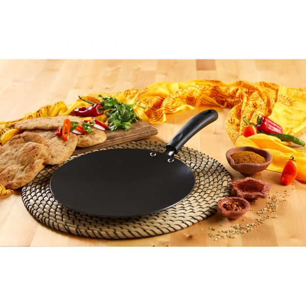 IMUSA Hard Anodized Aluminum Tawa with Bakelite Handle 10 Inches, Black