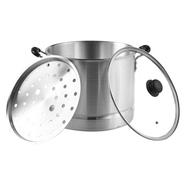 IMUSA Steamer with Glass Lid and Cool Touch Handle 24 Quart