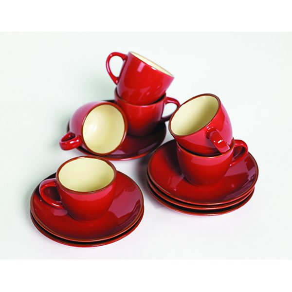 IMUSA 12 Piece Espresso Set with Rack Red