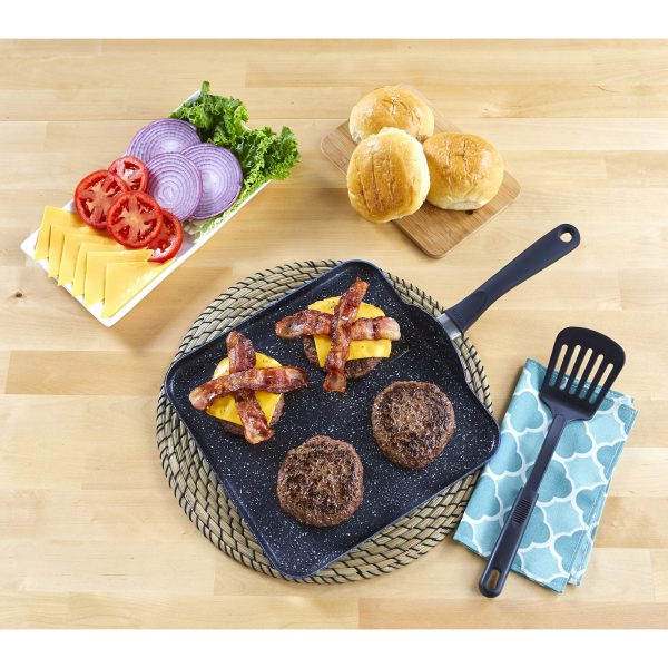 IMUSA Nonstick Speckled Blue Stone Finish Square Flat Griddle with Soft Touch Handle 11 Inch, Blue