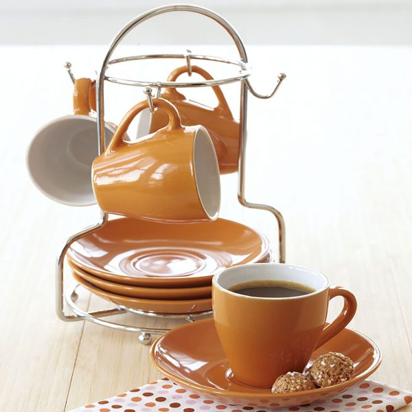 IMUSA 8 Piece Espresso Set with Rack Orange