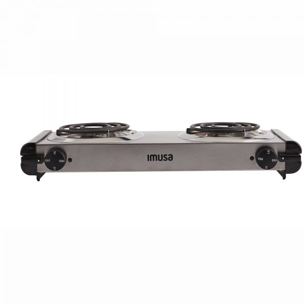 IMUSA Electric Stainless Steel Double Burner 1750 Watts, Silver