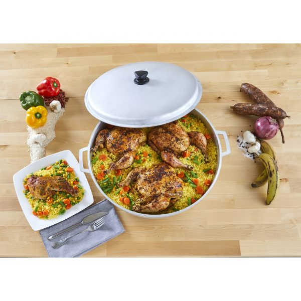 IMUSA Natural Cast Aluminum Caldero with Lid 17.9 Quart