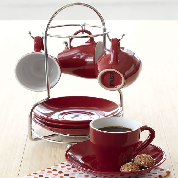 IMUSA 8 Piece Espresso Set with Rack Red
