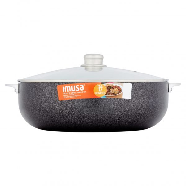 IMUSA Nonstick Hammered Caldero with Glass Lid 13.5 Quart, Charcoal