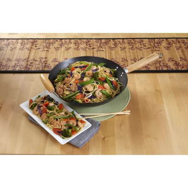 """Global Kitchen 14"""" Non Stick Wok with Wood Handle, Black"""