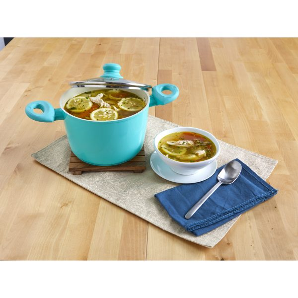 IMUSA Ceramic Nonstick Forged Aluminum Stock Pot with Glass Lid & Soft Touch Handle 5 Quarts, Teal