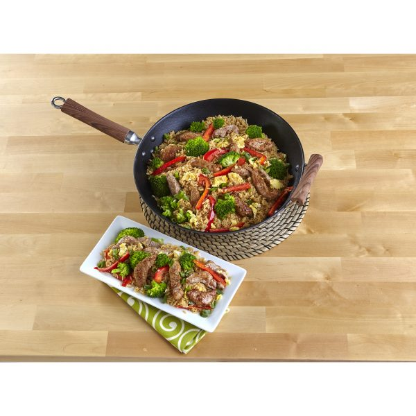 Global Kitchen Preseasoned Light Cast Iron Wok with Dark Wood Handles 14 Inches, Red/Black