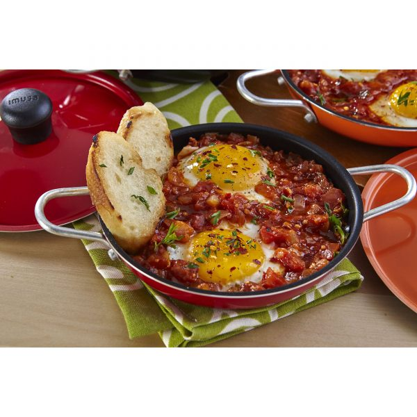 IMUSA Egg Pan with Lid and Side Handles 14 cm, Red/Orange/Black