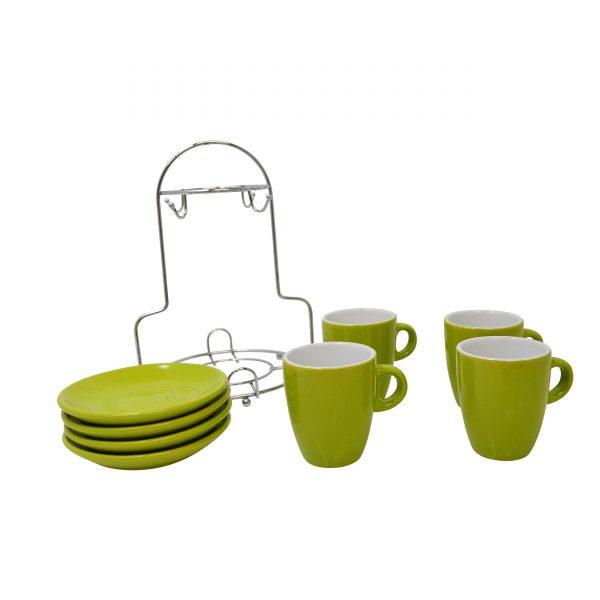 IMUSA 8 Piece Espresso Set with Rack Green/White