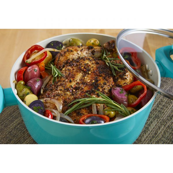IMUSA Ceramic Nonstick Forged Aluminum Dutch Oven with Glass Lid & Soft Touch Handle 3 Quarts, Teal