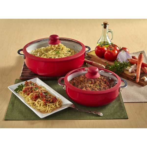 IMUSA Nonstick Two Piece Ceramic Caldero Set with Tempered Glass Silicone Rim Lid 24/30 cm, Red