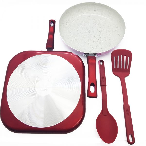 IMUSA 4 Piece Cookware Set with Soft Touch Handle, Ruby Red