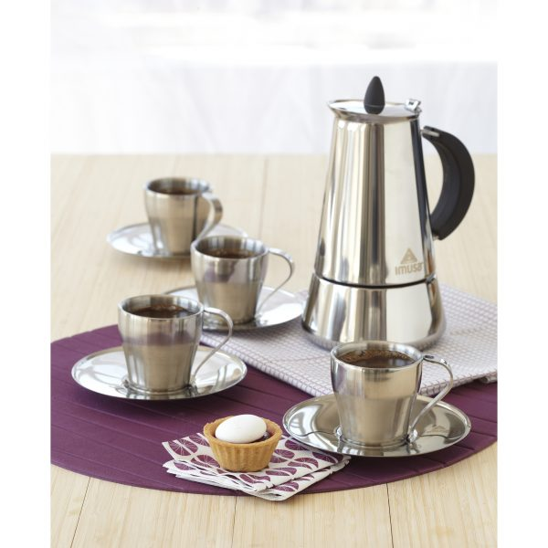 IMUSA 9 Piece Stainless Steel 6 cup Espresso Gift Set, Silver